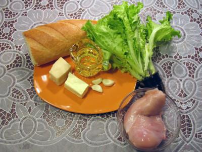 Фото продуктов для салата Цезарь