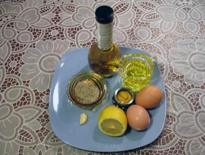 Фото продуктов для соуса к салату Цезарь