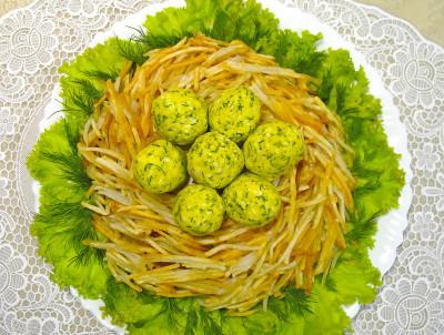 салат глухариное гнездо рецепт с фото пошагово
