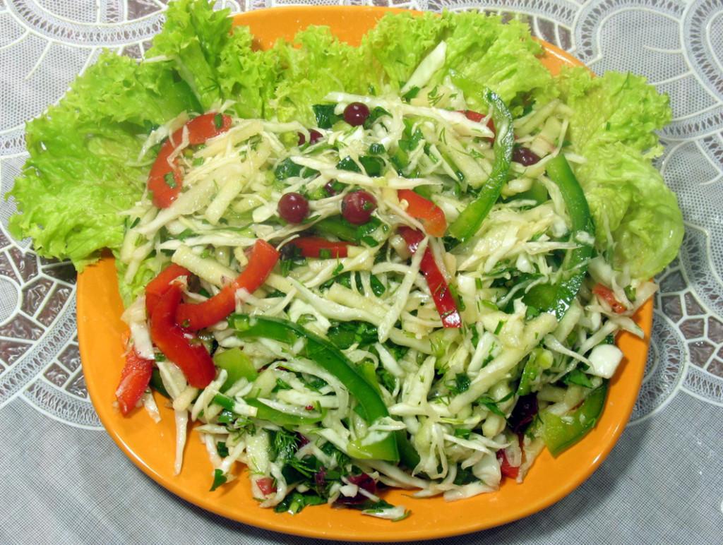Салат из одной свежей капусты рецепт очень вкусный