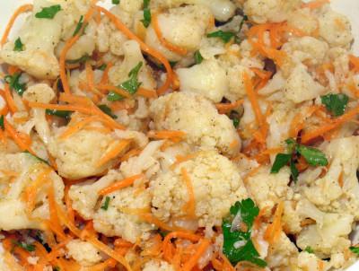 Фото этапа приготовления цветной капусты по-корейски