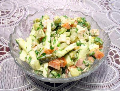 рецепт приготовления салата из копченой грудки