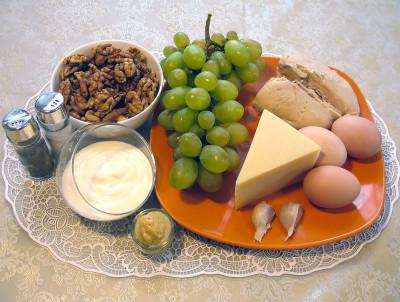 рецепт салата курица с виноградом с фото