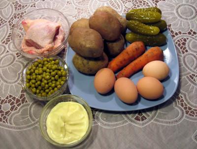 Фото продуктов для салата Оливье