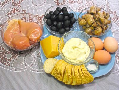 Фото продуктов для салата Подсолнух