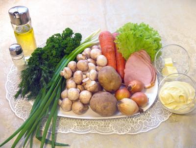 Рецепт салата грибная поляна — фото продуктов