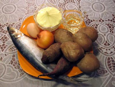 Фото продуктов для салата селедка под шубой