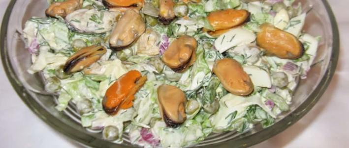 рецепты салатов с коктейлем из морепродуктами