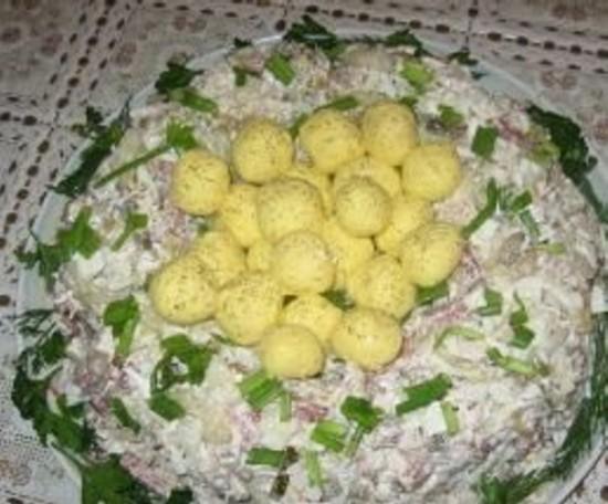рецепты салатов гнездо глухаря с видео