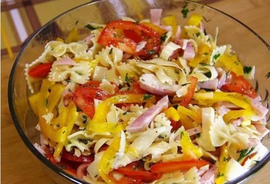 Рецепт салата с макаронами и ветчиной
