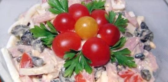 Вкусные рецепты салатов с фото с ветчиной