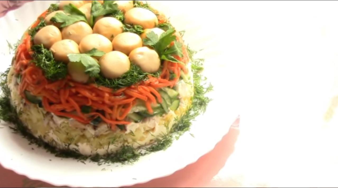 Грибная поляна с корейской морковью пошаговый рецепт