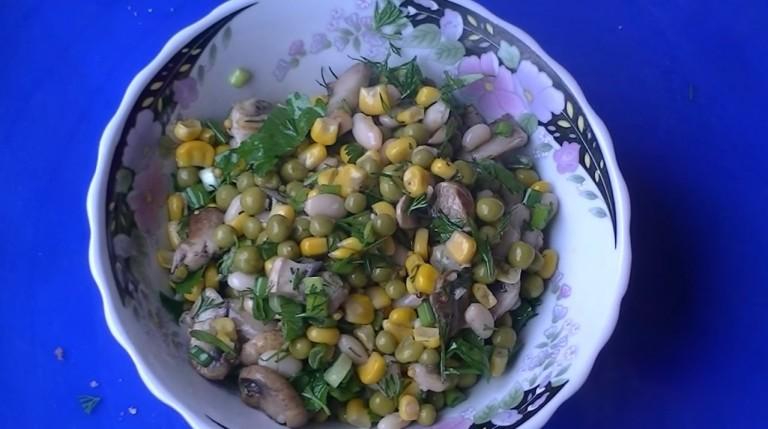 Салат фасоль грибы кукуруза яйцо фото