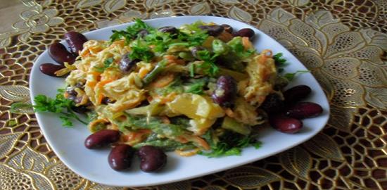 посмотреть рецепт салата с фасолью